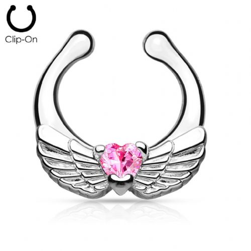 Angel Wings Non-Piercing Septum Ring Hanger with Pink CZ Gems